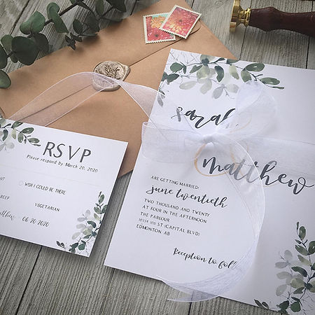 Eucalyptus Wedding Invitation and RSVP card
