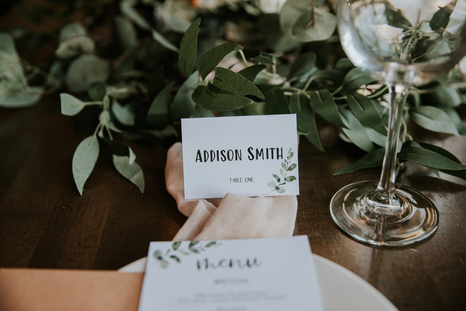 Menu and Placecards- Eucalyptus
