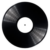 Black vinyl record isolated on white bac