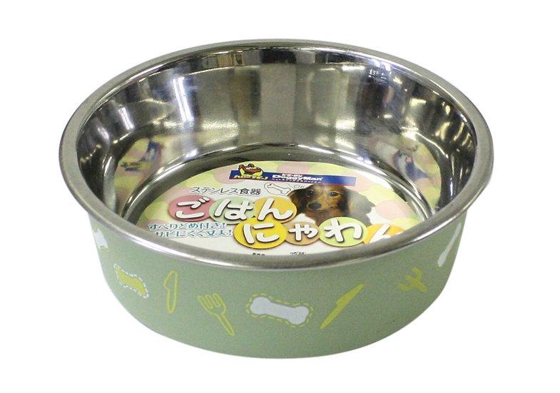 Цветная миска на резиновой подложке для собак. Размер SS. Зелёная