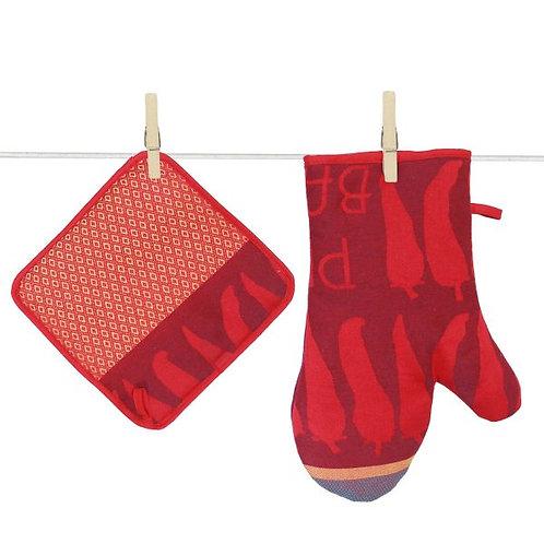 Tissage Moutet - Piment - Topflappen und -handschuh