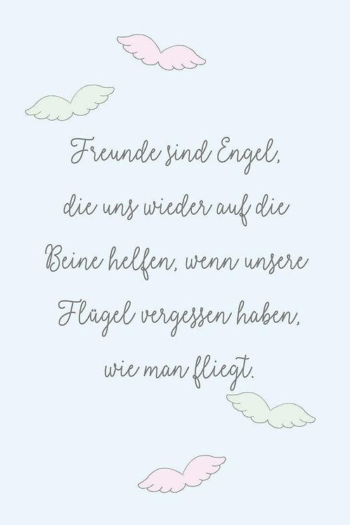 "Villa Landleben - Postkarte ""Freunde sind Engel, ..."""