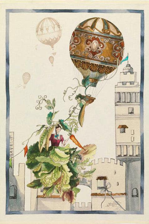 Tessitura Toscana Telerie -  FIABA MONGOLFIERA - Märchen HeißluftballonLeinen
