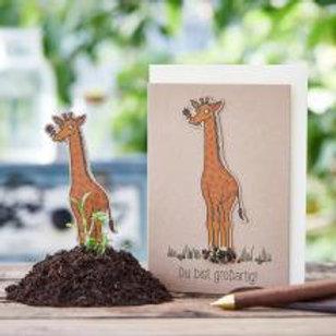 """Die Stadtgärtner - Freiluftbuffet - Pflanzkarte """"Giraffe du bist großartig"""""""
