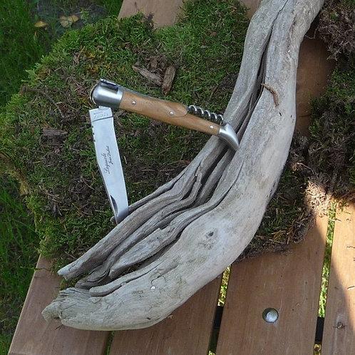 Jean Dubost - Laguiole Taschenmesser mit Korkenzieher und Griff aus Olivenholz