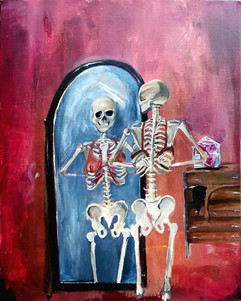 Meatsuits, Skeletons & An Organ, Acrylic on Canvas, 50x65cm