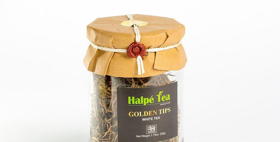 Halpe Tea Golden Tips Glass Jar