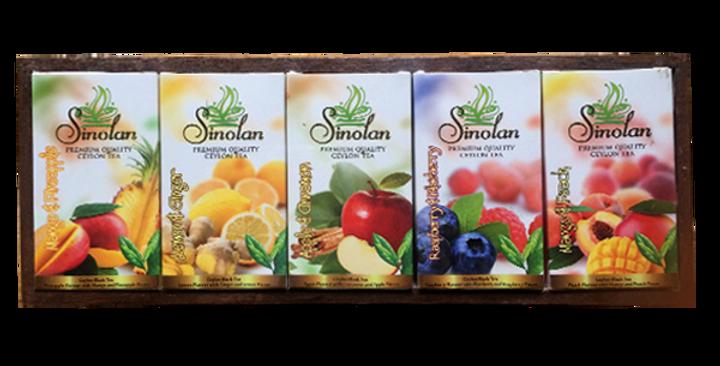 Sinolan 5-In-1 Flavoured Tea With Fruit Pieces Wooden Gift Box 50g x 5