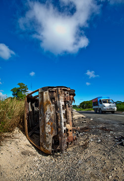 A BURNED OUT CAR ON EFATE, VANUATU