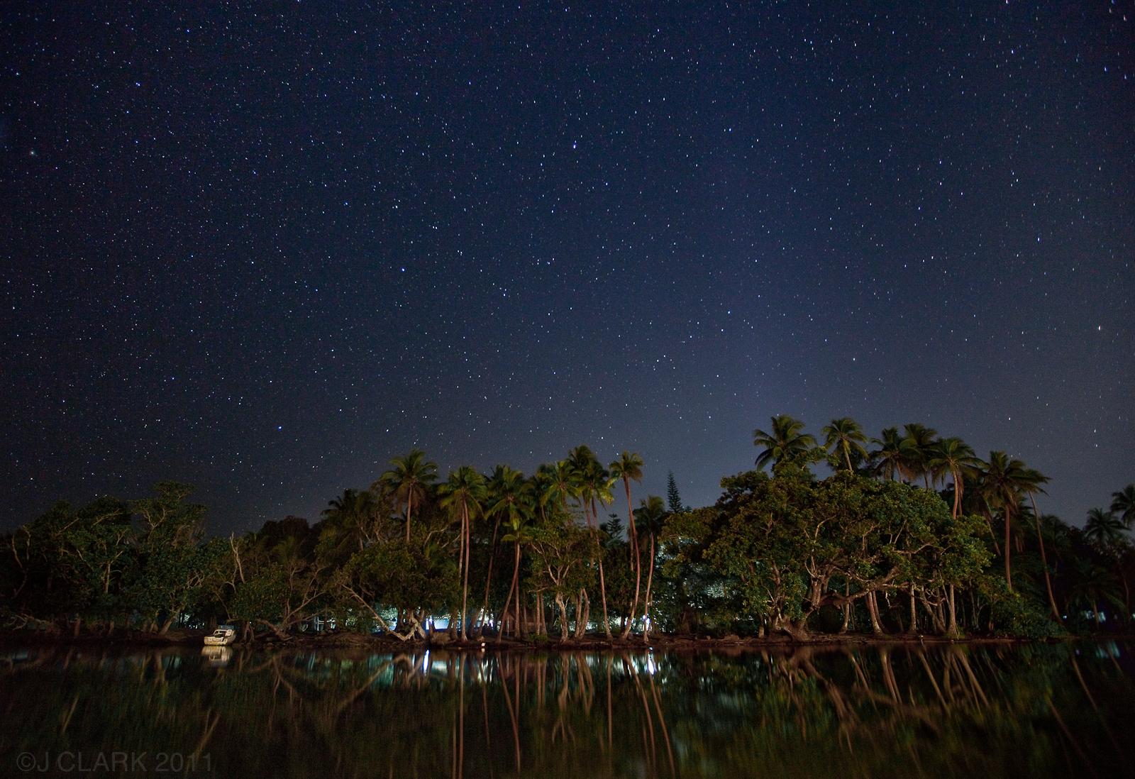 STARS OVER LAGOON ON EFATE, VANUATU