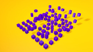 ANIMATED CROWD OF BOUNCING CUBES