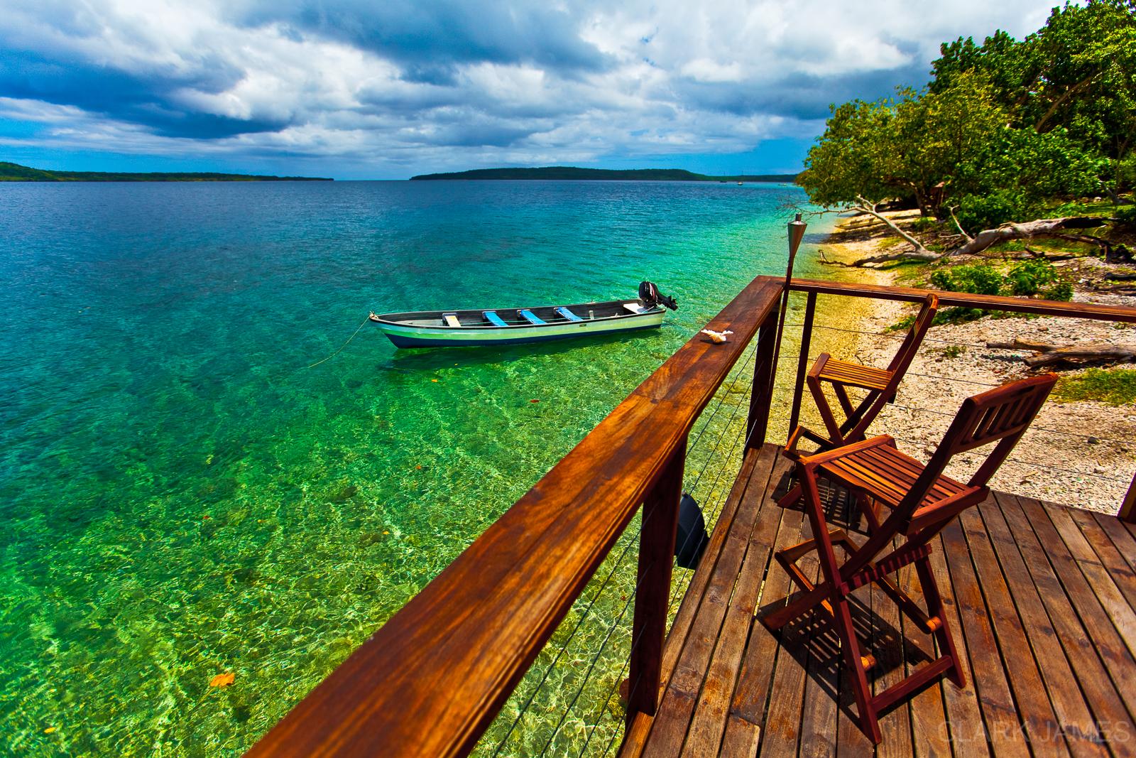 BOAT IN CLEAR WATER EFATE, VANUATU