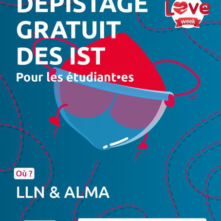 """""""Love Week"""" Le planning familial de Louvain-La-Neuve propose un dépistage gratuit des IST."""