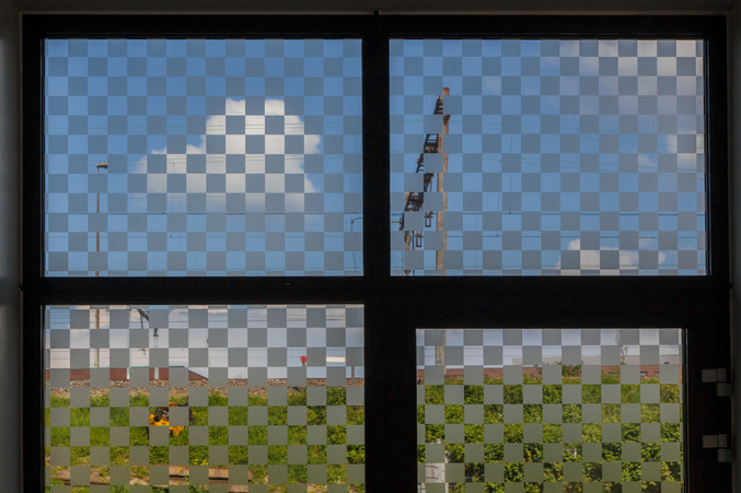Untitled experiment #1 Site-specific installation. Digital prints on windows, size varies.