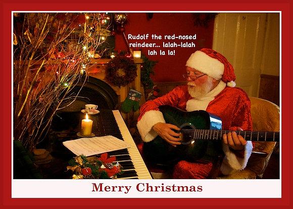 Santa playing guitar