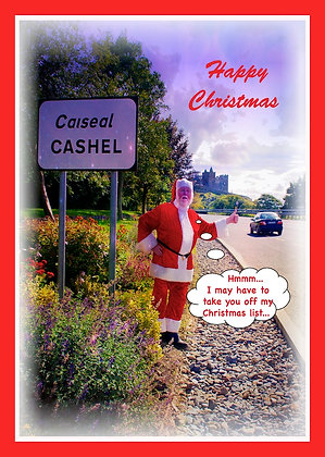 Santa thumbing a lift at Cashel Sign