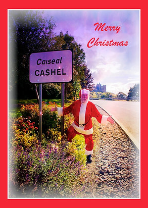 Santa at Cashel welcome sign