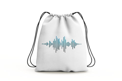 Sound Wave - Draw String Bag (White)