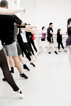 Adult dancers at the barre with DPK