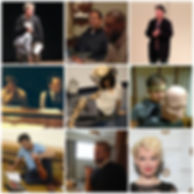 Photographic collage of rehearsals, readings and receptions for Hang a Tale