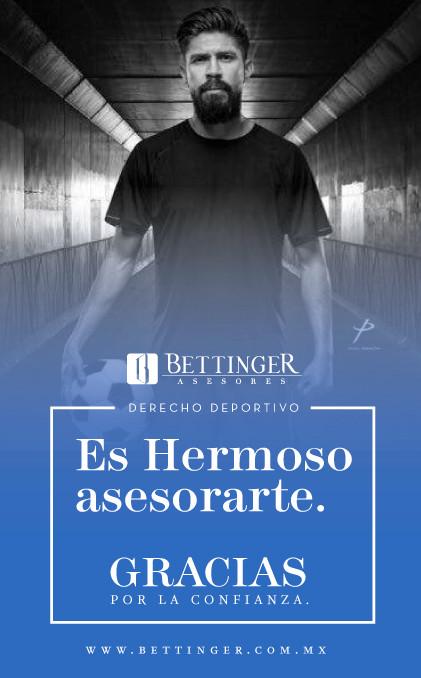 """""""En Bettinger Asesores, a través del departamento de Derecho Deportivo, tenemos el privilegio de asesorar al jugador referente del balompié nacional Oribe Peralta, agradecemos tu confianza"""""""
