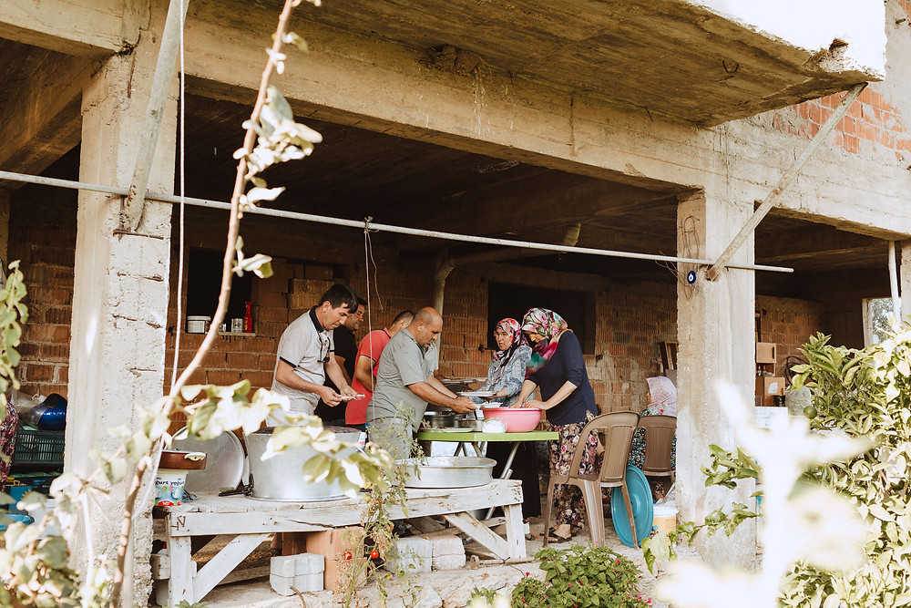 This is a photo from our wedding where Salih's family is preparing enough food to feed the whole village