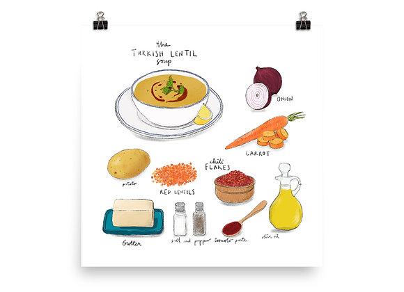 Turkish Lentil Soup Recipe Print