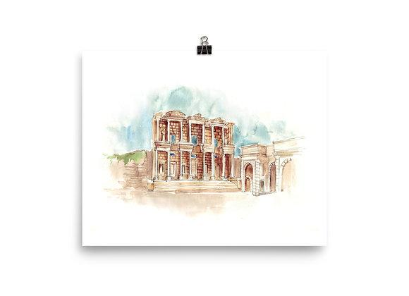 Ephesus Watercolor Print