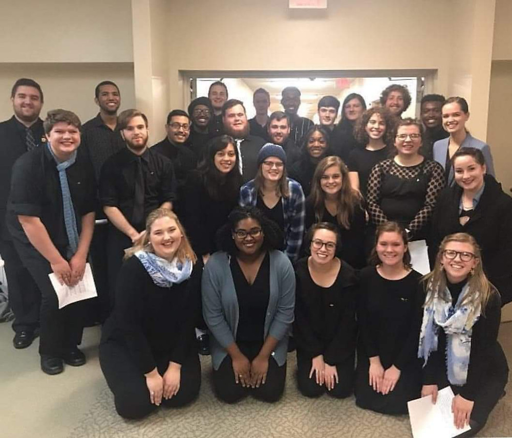 Featured here are almost all the current members of UNCG's chapters of SAI, MPE, and PMA after a joint concert in the community!