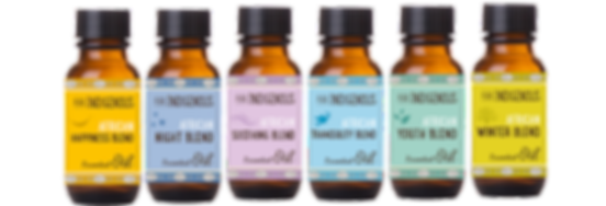 Pure Indigenous Essential oil blends for happiness, night, soothing, tranuility, youth and winter using South African essetial oils