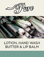 Pure Body care products, lotion, hand wash, lip balm & body butter fatiring African Bluegrass