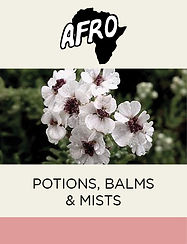 Afro Potions, balm & mists fea uring Cape Snowbush