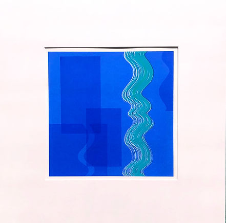 reflection in blue screenprint lucy cooper