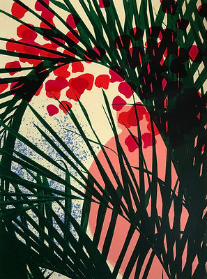 Lucy Cooper screenprint Tobago palm