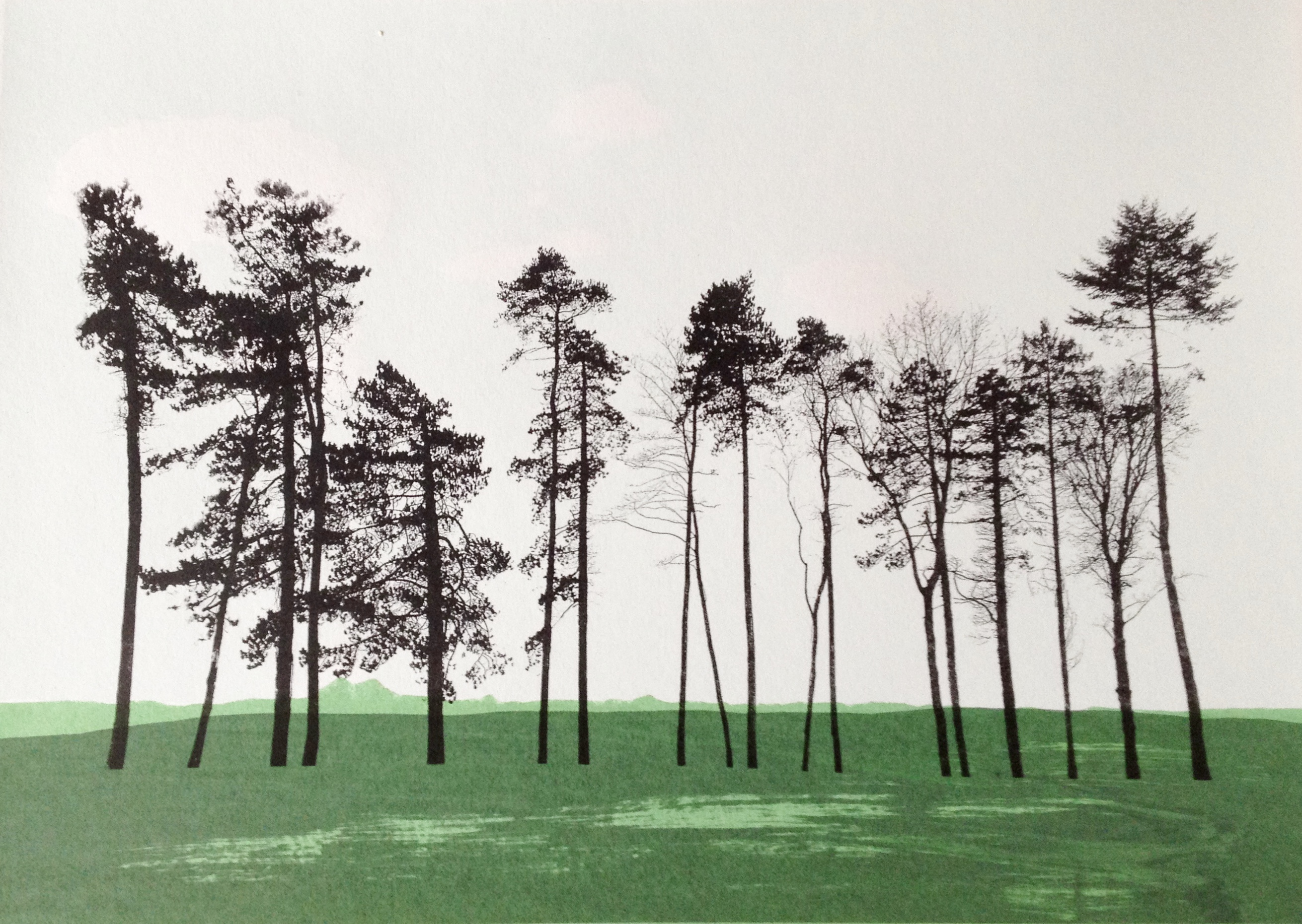 Great Tew trees - screenprint