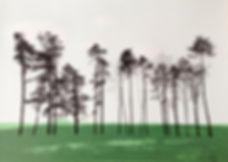 Great Tew trees screenprint