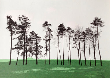 Great Tew trees screenprint
