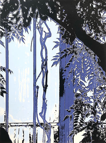 Lucy Cooper screenprint Inside the palm house