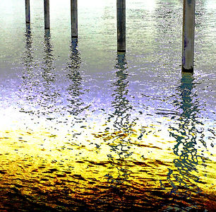Lucy Cooper print Docklands posts reflection