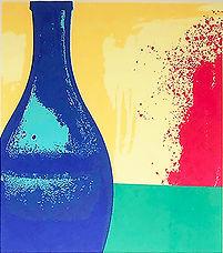 Lucy Cooper screenprint Puglian blue bottle