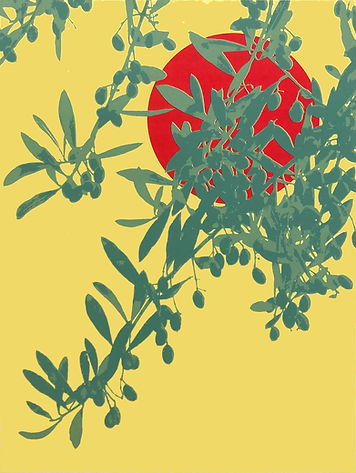 Lucy Cooper screenprint offering an olive branch