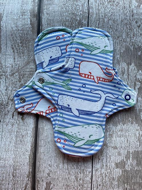 "Cloth Sanitary Pad 7"" Regular - Whales"