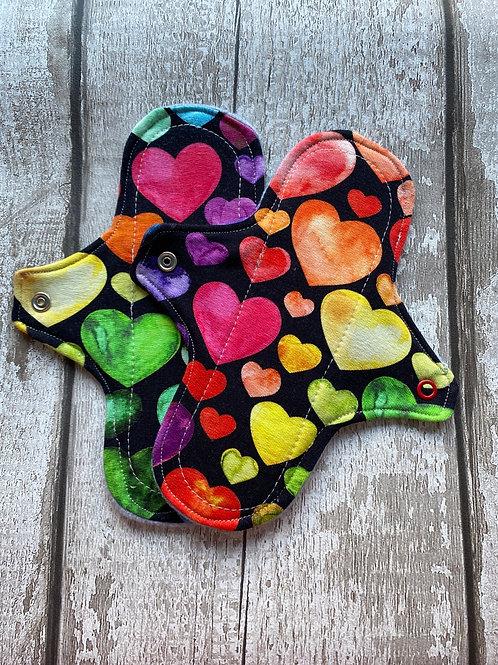 "Cloth Sanitary Pad 7"" Regular - Rainbow Hearts"