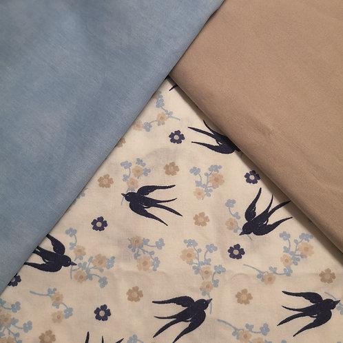 Vögel & Blumen weiß 2