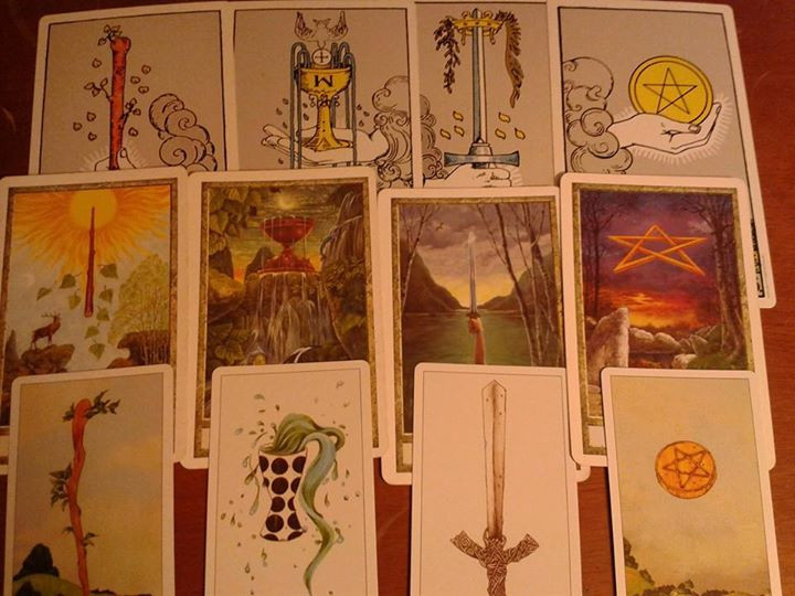 The four tarot suits, Rider Waite, Druid-Craft & Dreaming Way.