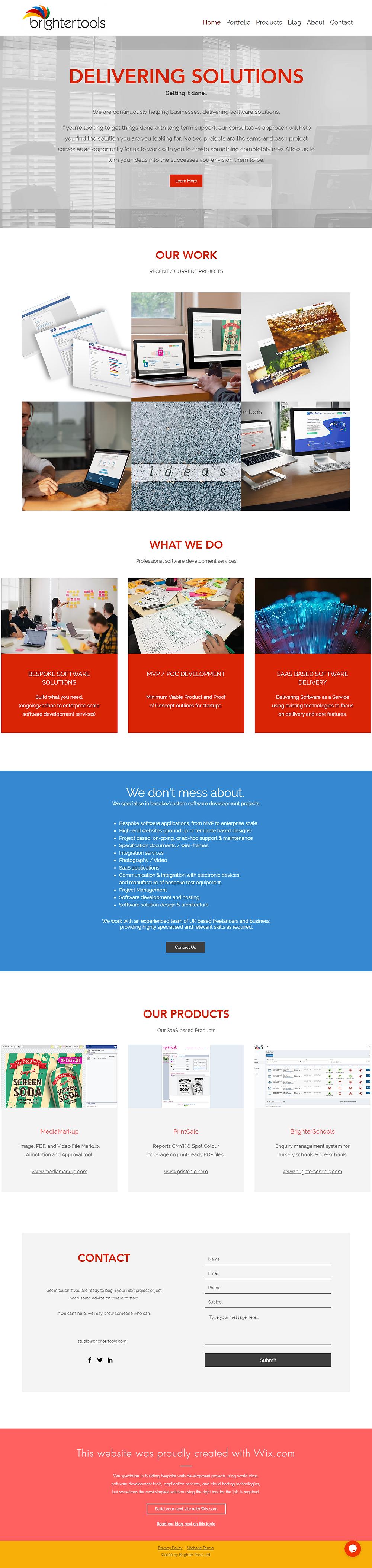 Screenshot of the Brighter Tools Website