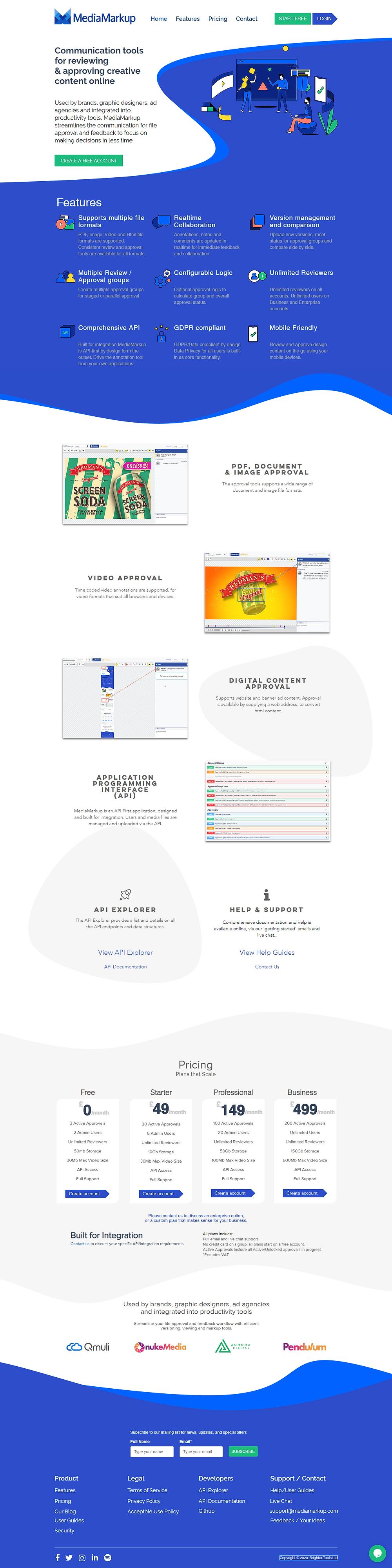 Screenshot of the MediaMarkup website