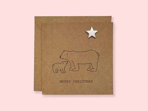 Mum and Baby Polar Bear - Christmas Card