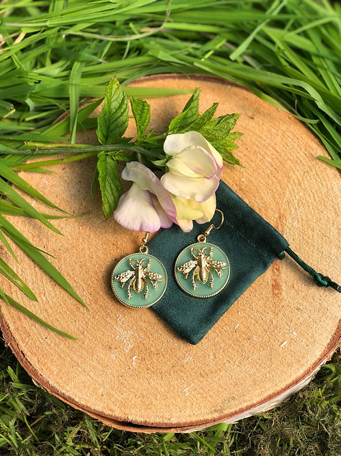 Bee Earings - Gold and Turquoise