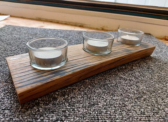 Whisky Barrel Stave Triple Tea Light Holder